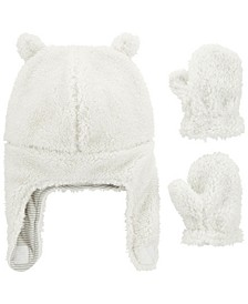 Baby Boy or Girl  2-Piece Sherpa Hat & Mittens Set
