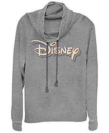 Women's Disney Logo Disney Retro Rainbow Fleece Cowl Neck Sweatshirt