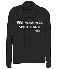 Fifth Sun Women's Alice in Wonderland All Mad Here Fleece Cowl Neck Sweatshirt