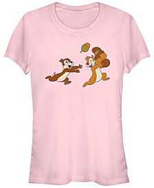 Women's Chip Dale Acorn Big Characters Short Sleeve T-shirt
