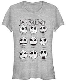 Women's Nightmare Before Christmas Jack Emotions Short Sleeve T-shirt