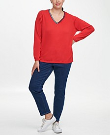 Plus Size Ivy Cotton Placed Stripe Sweater