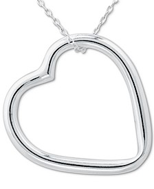 "Open Heart 18"" Pendant Necklace in Sterling Silver, Created for Macy's"