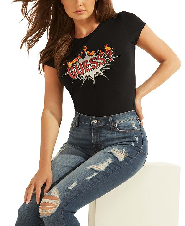 GUESS Boom Graphic-Print Logo T-Shirt