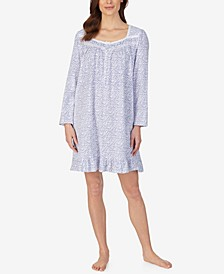 Long Sleeve Cotton Knit Nightgown