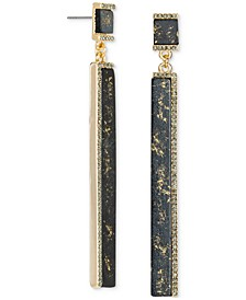 Gold-Tone Crystal & Gold-Fleck Black Bar Linear Drop Earrings