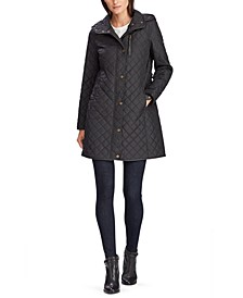Faux Suede–Trim Quilted Coat