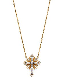 "Cubic Zirconia Cross Pendant Necklace, 16"" + 2"" extender, Created for Macy's"