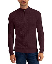 Men's Cable Knit Quarter-Zip Cotton Sweater, Created for Macy's