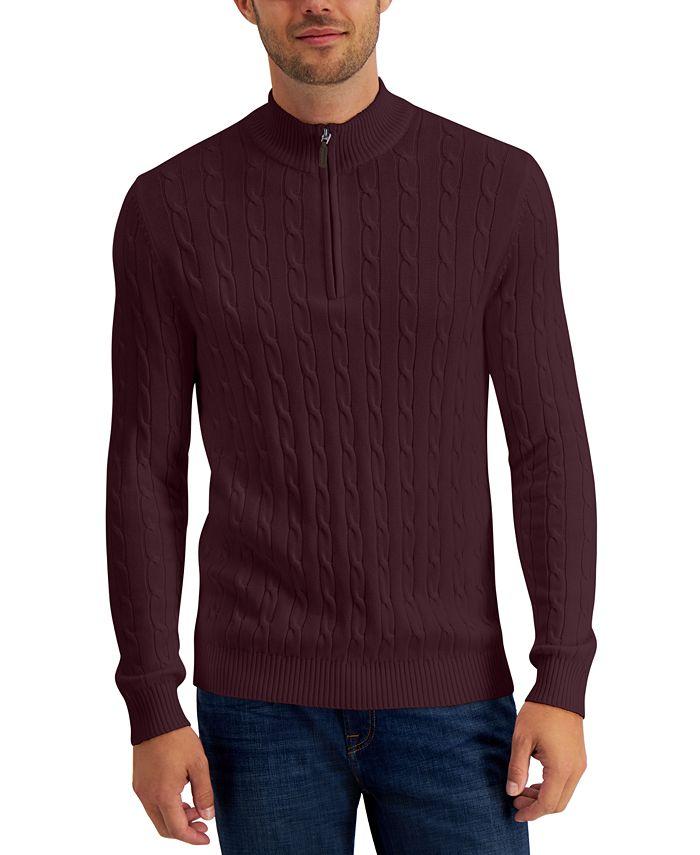 Club Room - Men's Cable-Knit Quarter-Zip Cotton Sweater