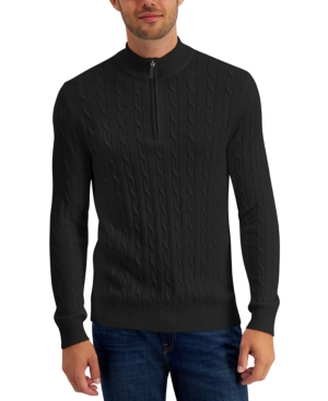 Men's Vintage Sweaters History Club Room Mens Cable Knit Quarter-Zip Cotton Sweater Created for Macys $25.99 AT vintagedancer.com