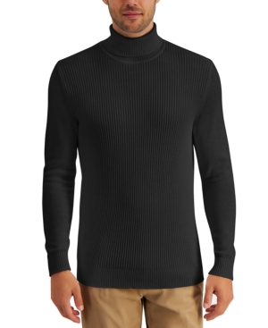 Men's Textured Cotton Turtleneck Sweater