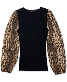 INC Animal Print Sleeve Sweater, Created for Macy's