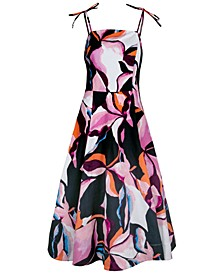Abstract-Print Midi Dress