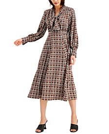 INC Petite Printed Tie-Neck Dress, Created for Macy's