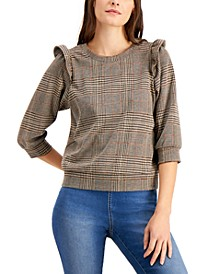 INC Plaid Puff-Sleeve Top, Created for Macy's