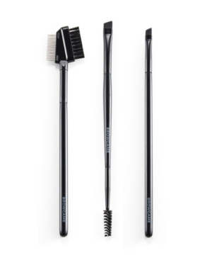 Browgame Cosmetics 3-pieces Brow Brush Kit In Black