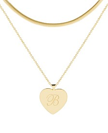 14K Gold Plated Isabel Initial Layering Necklace Set