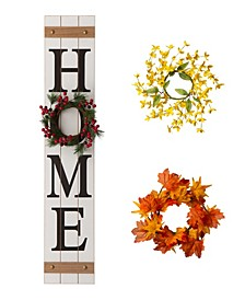 "Wooden ""Home"" Floral Porch Sign, Set of 4"