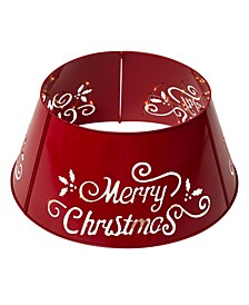 """Merry Christmas"" Die-Cutting Metal Tree Collar with Light String"