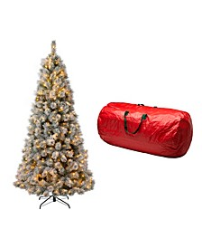 Pre-Lit Snow Flocked Artificial Spruce Christmas Tree with 650 Warm Lights, with Storage Bag
