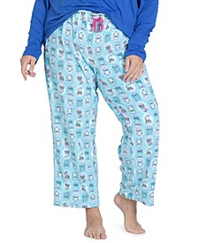 Plus Size Printed Fleece Pajama Pants