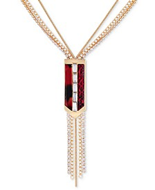"Gold-Tone Crystal & Burgundy Multi-Row Lariat Necklace, 15-1/2"" + 3"" extender"