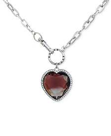 "Stone & Crystal Heart 18"" Pendant Necklace"