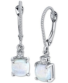 Opal (1-1/10 ct. t.w.) & Diamond (1/20 ct. t.w.) Drop Earrings in 14k White Gold