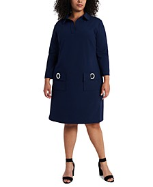 Plus Size Grommet Pocket Shift Dress