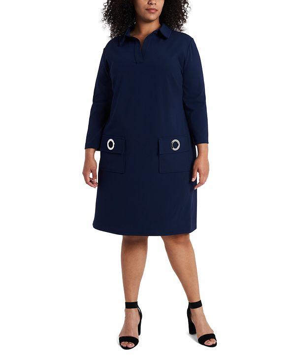 MSK Plus Size Grommet Pocket Shift Dress