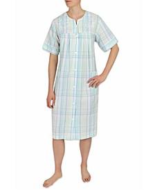 Plus Size Seersucker Short Gripper Robe