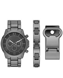 Men's Gunmetal Bracelet Watch 48mm Gift Set