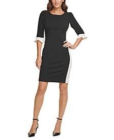 Contrast-Sleeve Sheath Dress