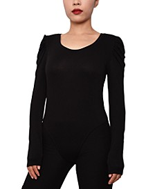 Juniors' Ruched-Sleeve Bodysuit