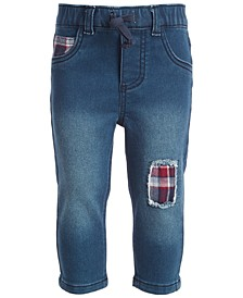 Baby Boys Flannel Patch Jeans, Created for Macy's