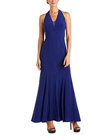 Juniors' V-Neck Halter Gown