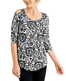 Printed 3/4-Sleeves Cold-Shoulder Top, Created for Macy's