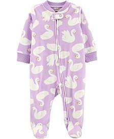 Baby Girl  Swan 2-Way Zip Fleece Sleep & Play