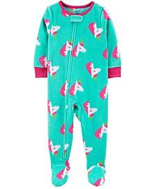 Baby Girl 1-Piece Unicorn Fleece Footie PJs