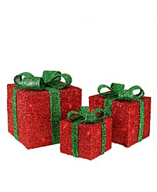 Tinsel Gi Boxes with Bows Lighted Christmas Outdoor Decorations