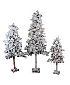Set of Pre-Lit Heavily Flocked Alpine Artificial Christmas Trees