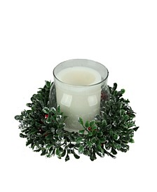 Clear and Boxwood with Berry Tipped Christmas Hurricane Pillar Candle Holder