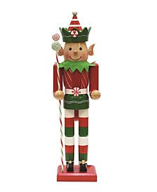 Striped Elf Christmas Nutcracker