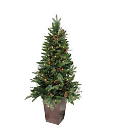 Pre-Lit Potted Mixed Winter Pine Medium Artificial Christmas Tree-Clear Lights