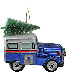 Usps Post Office Truck with Frosted Tree Glass Christmas Ornament