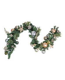 Unlit Gold Tone Leaves Ornaments with Stars Artificial Christmas Garland