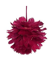 Glitter and Tipped Feather Christmas Ball Ornament