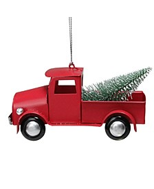 Iron Truck with Frosted Tree Christmas Ornament