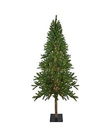 Pre-Lit Alpine Artificial Christmas Tree-Clear Lights